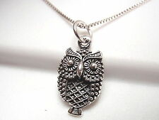 Spotted Owl Plain Silver Necklace 925 Sterling Silver Corona Sun Jewelry