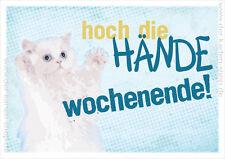 A6 Postkarte Spruchkarte lustige Sprüche Katze Karte Hoch die Hände Wochenende