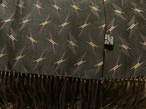 "Audrey Buchner Men's Black 100% Silk Scarf  Fringe 64""x 12"" England - EUC"