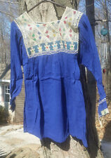 Maya Mexican Blouse Top Shirt Embroidered Geometric Huipil Chiapas Medium Blue