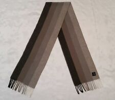 VINTAGE AUTHENTIC HERRINGBONE GRAY BEYGE CASHMERE WOOL LONG MEN'S FRINGE SCARF