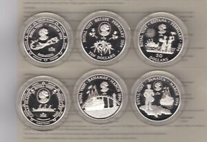 BOXED 1994 CARIBBEAN ROYAL VISIT 6 COIN SILVER PROOF COLLECTION WITH CERTIFICATE