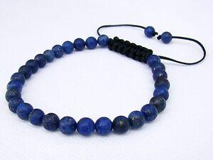 Men's Bracelet all 6mm LAPIS LAZULI gemstone natural beads frosted