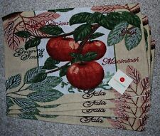 SET OF 4 COTTON APPLE THEME TAPESTRY PLACEMATS/ REDS/GREENS/CREAM/TAN/NWT