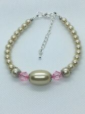Women's Elegant Faux Cream Pearl & Pink Crystal beaded Jewelery Bracelet Gift