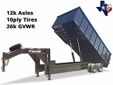 "Brand New 8' x 20' Gooseneck Dump Trailer, 26k gvwr with 48"" Sides - Special"