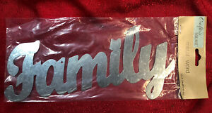 Metal FAMILY Spelled Out Word Script Sign Farmhouse Wreath Craft 11 X 5 Inch