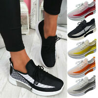 Womens Knit Mesh Breathable Trainers Lace Up Sport Sneakers Casual Running Shoes