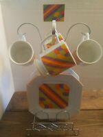 Vintage 1960s Cake And Coffee Set  MCM Design Made in Japan 9 pc Groovy Gift