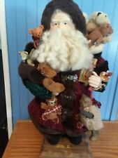 "Grandeur Noel 16"" Fabric Santa Claus Collectors Edition-2000! Toys/Wood Base"