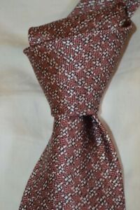 "$250 NWT TOM FORD Mauve w/ White houndstooth check 3.75"" woven Silk tie ITALY"