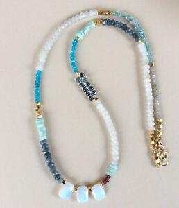 New Sundance Charm Necklace aquamarine opalite garnet labradorite apatite stones