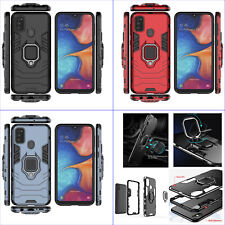 For Samsung Galaxy M30s, 3in1 Shockproof Rugged Grip Ring Car Holder Case +glass