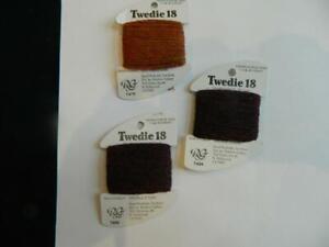 Lot RG Twedie 18 Needlepoint Cross Stitch Variegated Fibers Threads Brown 3 Pcs