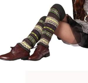 BOHO Style Women Winter Vintage Thick Knitted Wool Leg Warmers Boot Socks NEW