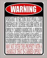 "New Texas open carry law business, ""open carry prohibited"" 30.07 sign- 9""x12"""