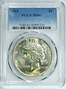 1923 $1 Peace Silver Dollar PCGS MS61 (9233) 99c NO RESERVE  Witter Coin