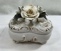 Vintage Capodimonte Bisque Heart Shaped Trinket Box w/Roses & Floral Lid - Italy