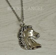Antique Silver Plt Horse Head Pendant Necklace Ladies Girls Mens Gift Animal (C)