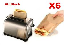6x Reusedable Toast Toaster Sandwich Toastie Bag Pocket Toastbag 17x19cm AU Ship