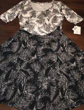 NWT LuLaRoe XL Noir Blanc Black White Nicole Palm Leaves Jacquard Twirl Dress