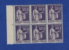 W904* Timbres France Neuf**MNH TBE Bloc de 6 + Marge TYPE PAIX n°363 1939