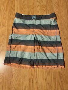 New 14 Striped Boys Swim Trunk Shorts Gray Pocket Adjustable Waist by art class