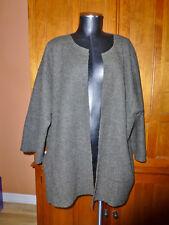 EILEEN FISHER women ALPACA WOOL Military Green Kimono plus sz Jacket COAT 1X 2X