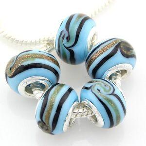 5pcs Murano Lampwork Glass Beads Silver For European Charm Bracelet G3