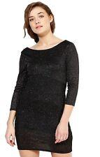 Ex Topshop Black Sparkly Glitter Shiny Sexy Party Mini Dress Size 6 8 10 12 14
