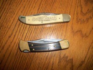 2 VINTAGE FOLDING KNIVES BUCK 110 SCHRADE MAYFLOWER LIBERTY