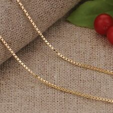 Pure 18K Yellow Gold Necklace /Fashion Men&Women Elegant Box Link Chain Xlee