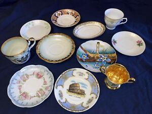Antique Porcelain Tea Cups and Saucers! Lot of 11 makers and styles!!