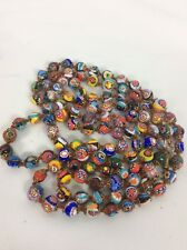 "Vtg Extra Long 54"" murano Multi Colors Millefiori  art glass  necklace Italian"