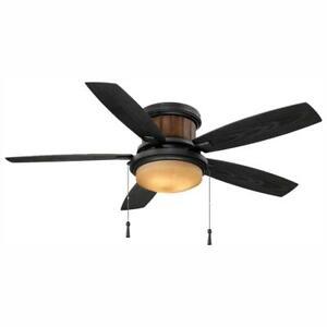 Hampton Bay Roanoke 48 in. LED Indoor/Outdoor Natural Iron Ceiling Fan w/Light