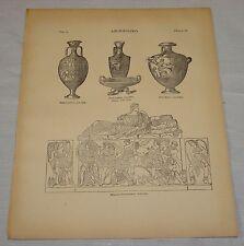 1891 Antique Print/ARCHAEOLOGY - ETRUSCAN SARAPHAGUS (Plus)