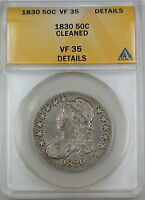 1830 Small Date, Bust Silver Half Dollar, ANACS VF-35 Details, Cleaned