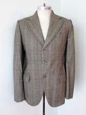 VGC Vtg 70s Gray Pink Blue Check Wool Tweed 3-Button Blazer Jacket Sportcoat 38L