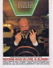 COUPURE DE PRESSE CLIPPING 1987 ANTOINE BLONDIN   (3 pages)