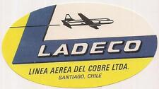 Vtg LADECO Linea Aerea Del Cobre LTDA Airlines SANTIAGO CHILE Luggage Sticker