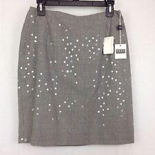 Vtg 90s Michael Kors Womens 8 Mini Short Skirt Plaid Sequins Navy Blue Gray USA