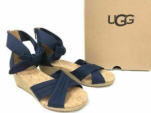 NIB UGG Australia 1092441 Traci Espadrille Bow Navy Wedge Sandal Shoes Size 9M