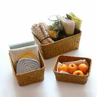 Retro Seagrass Straw Storage Basket Handmade Groceries Storage Box Container Bin