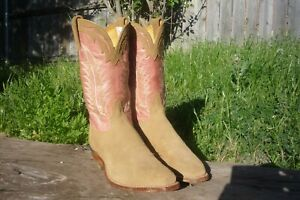 Women's 8 B M Tony Lama Tan Nubuck & Pink Square Toe 1073-L Cowboy Boots
