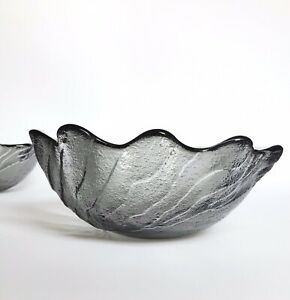 Vintage Wedgwood Lead Crystal Midnight Grey Wave Bowls C.1980