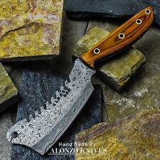 ALONZO USA CUSTOM HANDMADE DAMASCUS MINI CLEAVER  KNIFE PAKKA WOOD HANDLE 16511