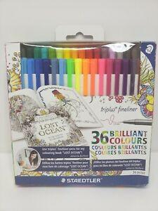 Staedtler Triplus Fineliner Porous Point Pens, 36 Colors, 0.3mm, Johanna Basford