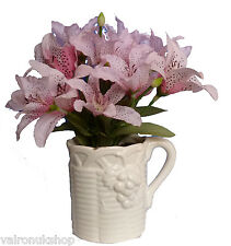 FAUX SILK PINK TIGER LILY FLOWER ARRANGEMENT IN WHITE CHINA POT