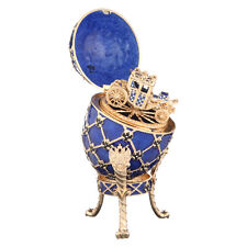 Faberge Egg / Trinket Jewel Box Russian Coat of Arms & Carriage 7.1'' 18 cm blue