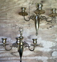(Pair) VINTAGE BRASS WALL TRIPLE-ARM CANDELABRA candle holders sconces